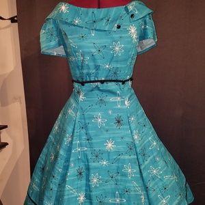 Atomic Retro! Teal Vintage Swing Dress